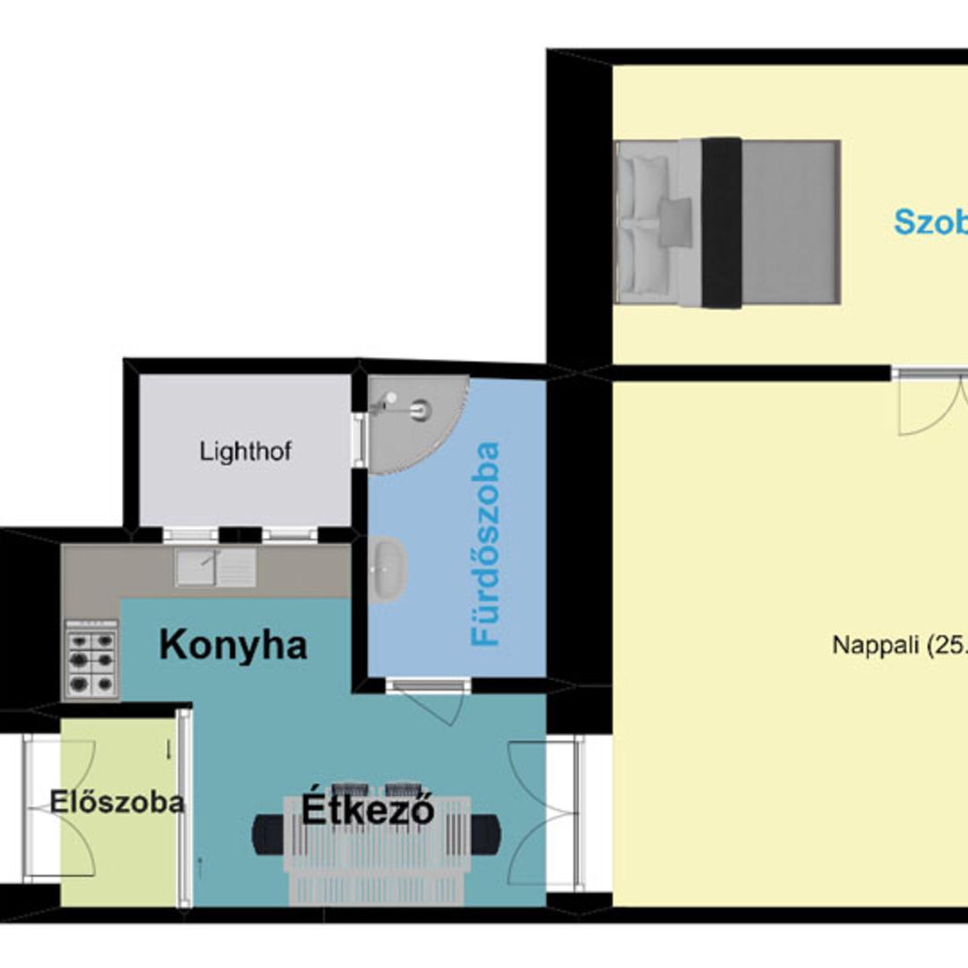 Eladó  téglalakás (Budapest, VII. kerületBudapest, VII. kerület, Erzsébet körút) 45 M  Ft