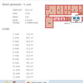 Kiadó  iroda (<span class='notranslate'>Budapest, XIII.  </span>kerület) 333,65 E   <span class='notranslate'>Ft</span>/hó +ÁFA